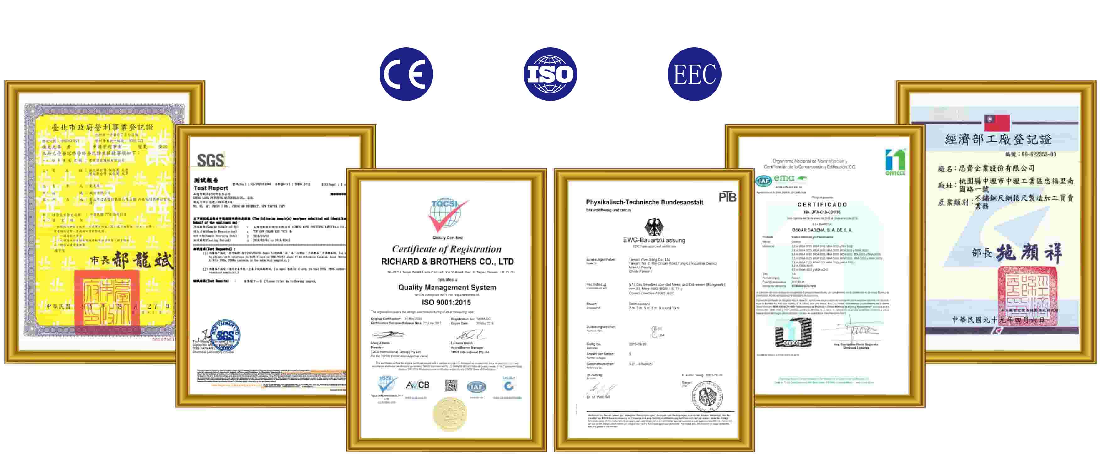 iso, ce, eec certificate approved