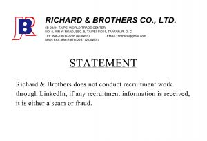 Please note that Richard & Brothers does not conduct recruitment work through LinkedIn, if any recruitment information is received, it is either a scam or fraud.